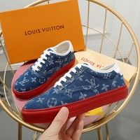 shosouvenir Louis Vuitton LV Ladies Denim Old Letter Logo Canvas Slippers