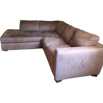 Natuzzi Italsofa Brown Microfiber L Shaped Couch