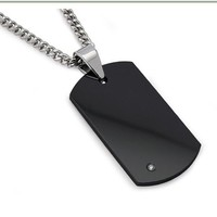 """Men's Black Tungsten Carbide Dog Tag with Diamond 22"""" Steel Curb Link Chain"""