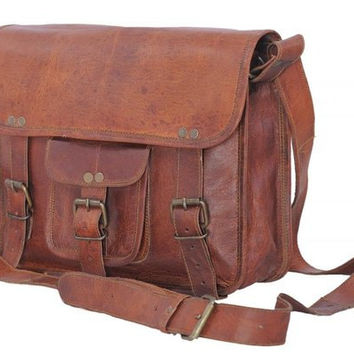 Handmade Real Goat Leather Messenger Satchel Cross Body Shoulder Strap Bag