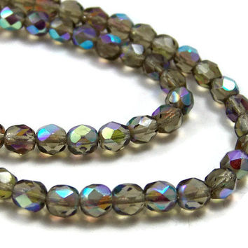 6mm faceted Czech Glass beads, Smoke Grey Aurora Borealis, Full Strand (368F)