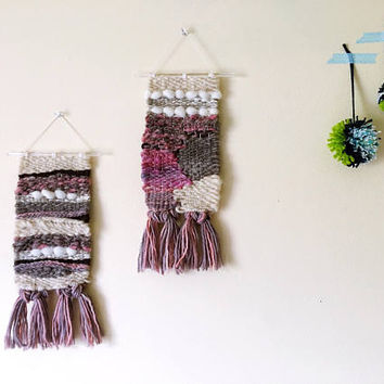 Sister Weavings, Separate or Together / Handwoven Wall Art / Woven Wall Hanging Tapestry / Fiber Art / Muted Neutrals, Pink, Brown, Purple