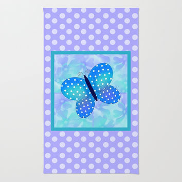 Spring Butterfly And Purple Polka-dots Area & Throw Rug by KCavender Designs