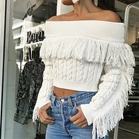 Off Shoulder Tassels Cable Knit Women Sweater