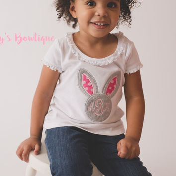 Girls Easter Shirt -- Girls Easter monogram Bunny shirt or Bodysuit -- Girls T Shirt -- Monogram easter shirt
