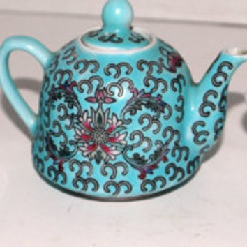 Vintage Chinese tea set chld size tea set aqua porcelain tea set 6 piece tea set