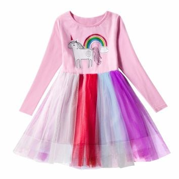 Long Sleeve Autumn Girl  Unicorn Party Dress For Kids Wedding Ceremonies Wear Casual Wear Princess Lace Christmas Clothes
