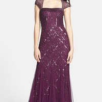 Women's Adrianna Papell Embellished Mesh Mermaid Gown,