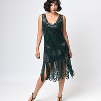 Unique Vintage 1920s Style Emerald Green Beaded Sinclair Flapper Dress