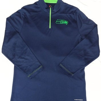Seattle Seahawks Majestic Ready And Willing Quarter-Zip Therma Base Shirt Size L