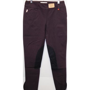 TS 1967 Boysenberry w/Black Knee Patch Low Rise Front Zip Breech