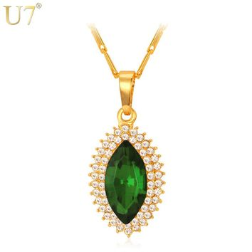 U7 Big Crystal Necklace Women Gold Color Geometric Colorful  Stones Office Style Fashion Jewelry Pendant Necklaces P451