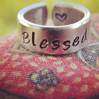 Blessed heart inside   aluminum cuff style ring 1/4 inch