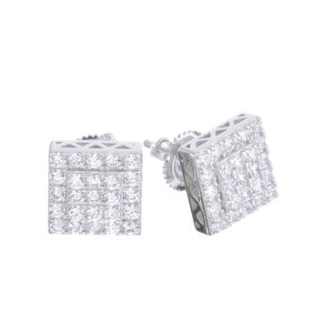 Jewelry Kay style Men's Iced Out 14k G/S Plated Micro Pave Square CZ Screw Back L Earrings SHS 615