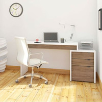 Nexera Liber-T Home Office Kit - Desk Panel with 3-Drawer Filing Unit - White and Walnut