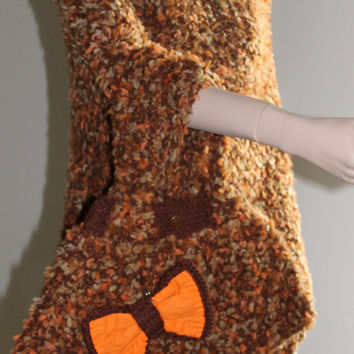 Hand Knitting and Crocheted Bag / Double-Sided Removable Bows / Brown - Light Brown - Orange and Beige