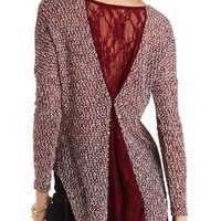 Lace & Sweater Knit High-Low Top by Charlotte Russe