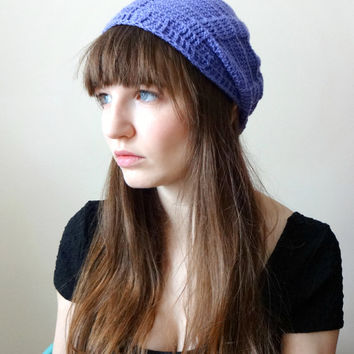 Lavender Baker's Beanie - Crochet Hat Slouchy Ribbed Toque