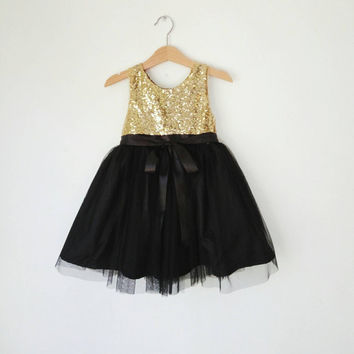 Gold and Black flower girl's dress, gold sequined and black tutu girl's dress, girls party dress, evening dress