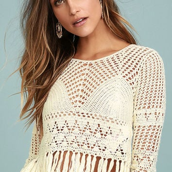 Mink Pink Henna Cream Crochet Crop Top