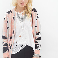 FOREVER 21 Geo Patterned Cardigan Black/Peach