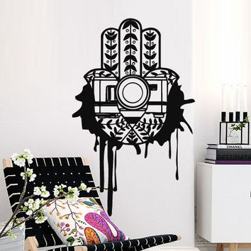 Hamsa Interior Wall Decal Vinyl Sticker Art Decor Hand Vibes Sign Indian Buddha camera photo Stain blotch Modern Bedroom Dorm Office (m1383)