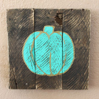 Turquoise Pumpkin with Gold Accents on Stained Wood Wall Decor Sign