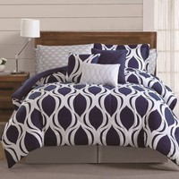 Sidney 12-Piece Comforter Set in Navy/White