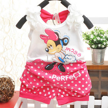 BibiCola  Minnie mouse baby girls summer clothing set infant kids sport suit clothes set children tracksuit Tshirt+short pant