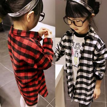 2-7Y Toddler Girls Plaids Tee Shirts Kids Long Sleeve Checks Tops Costume