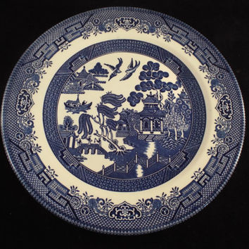 "10"" Dinner Plate  Churchill Blue Willow Pattern made in England Serving Dish, Replacement Dishes, Vintage"