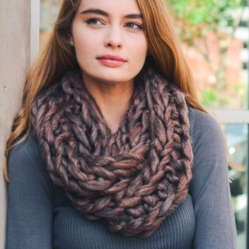 Copper Chunky Knit Infinity Scarf