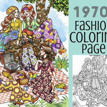 Printable Coloring Page - 1970s Fashion Adult Coloring Book Page