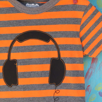 Headphones Appliqued Tshirt Orange and Grey by OddEDesigns on Etsy
