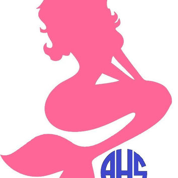 Monogram Mermaid Decal - Mermaid Monogram Decal