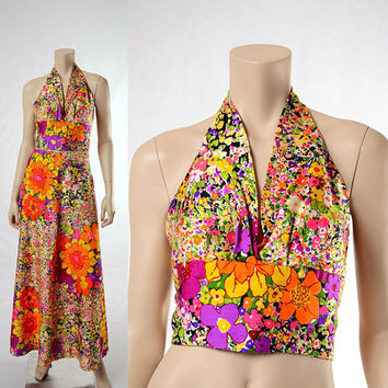 Vintage 70s Groovy Mod Floral Halter Top and Maxi Skirt Set 1970s Carnaby Street Flower Power Two-Piece Outfit Twiggy Hippie Boho size XS-S