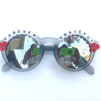 Forever Grateful hand decorated sunglasses, Grateful Dead embellished sunglasses, Dead & Company, Phish Mexico Riviera Maya novelty gift