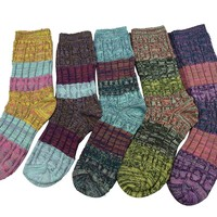 Nanxson(TM) Women's 5 Pairs Color Matching Knit Wear Warm Crew Socks WZW0016
