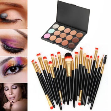 20 pcs/set Makeup Brush Set (15 Colors Concealer + 20 BRUSH)