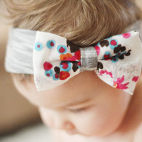 Stipes and Floral Head Wrap - Stretch Knit Head Wrap with Bow