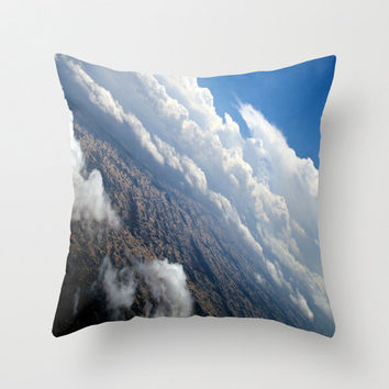 Landscape Pillow Covers - decorative artsy throw pillow home decor airplane nature cloud blue skies print 16x16