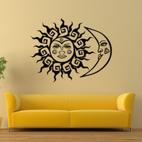Wall Decal Vinyl Sticker Sun And Moon Crescent Ethnic Dual Symbol Stars Night Wall Decals Murals Bedroom Dorm Wall Art Home Decor Z832