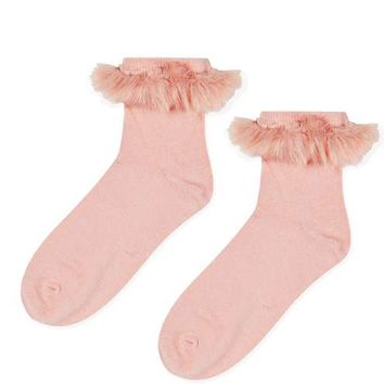 Fur Trim Ankle Socks - New In This Week - New In