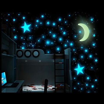 100Pcs Glow In The Dark Stars Moon Sticker Beautiful 3D DIY Home Decal Art Luminous Wall Stickers For Baby Kids Bedroom Decor