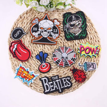 Mixture Sell DIY Cheap Embroidered Free Biker Patches For Clothing Iron On Applique Punk Rock Patch Badges For Clothes Stickers