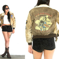 Vintage 80s FLIGHT Aviator Air Force PATCHED Croppped Jacket // Hipster Boho Gypsy Military // XS Extra Small / Small