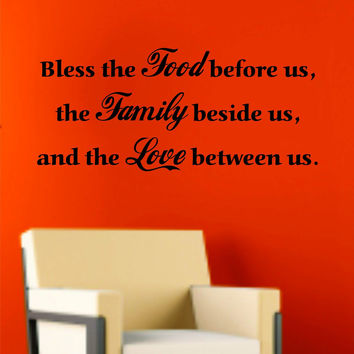 Bless This Food Before Us Quote Wall Decal Sticker Family Art Graphic Home