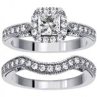 2.00 CT TW Halo Designer Princess Cut Diamond Engagement Bridal Set in 14k White Gold