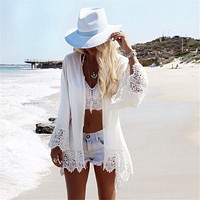 Casual boho kimono printed hawk on back & lace details cover-up