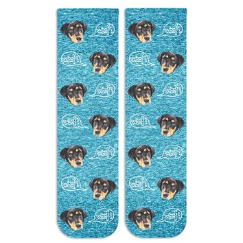 "Custom Printed Dog Photo Socks - Dog Faces Printed with ""Woof"" on White Cotton Crew Socks"